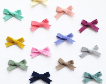 Mini Handtied Schoolgirl Bows - Headband or Alligator Clip - Pick Your Color and Quantity