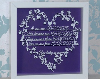 Personalised How Lucky We Are Shadow Framed Cut Family Timeline Keepsake