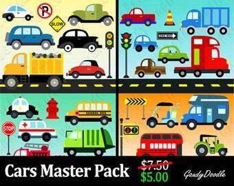 Cars Master Pack - 45 Items - Sedan, Truck, Stoplight, Bulldozer, Taxi, Ambulance, Firetruck, Police Car, School Bus, Garbage Truck, 70s Van