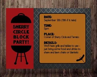 "5""x7"" Summer BBQ/Block Party Invite - Printable, Customizable"