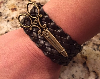 Leather scissor bracelet- brown with wide leather band