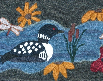 "Loon River Rug Hooking Pattern (18-1/2 x 34"")"