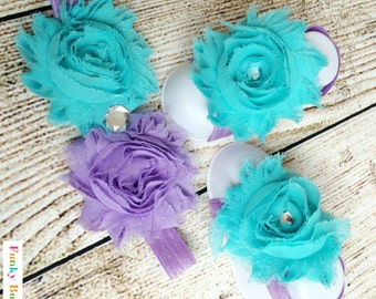 Baby Barefoot Sandals & Headband Gift Set-Lilac and Aqua-Soft Baby Flower Shoes - Newborn Shoes - Baby Shower Gift - Photo Props