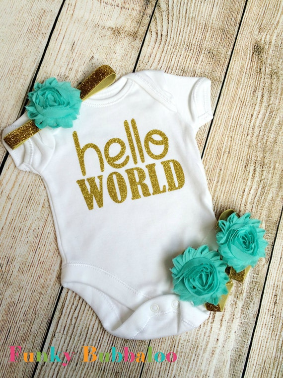 Go Hello World: Hello World Newborn Outfit Gold Glitter & Aqua Bodysuit