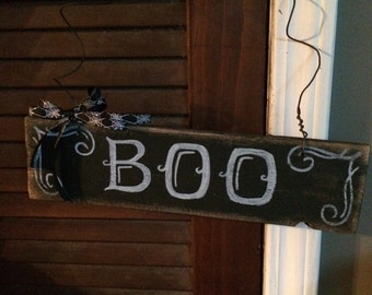 Halloween Boo hanging wood sign