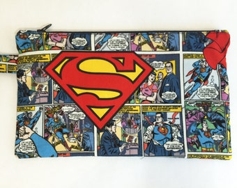 Superman, Zippered bag Made From Superman Fabric, Back to school Pencil case, Superhero Zipper Pouch