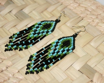Huichol Native American Earrings, Peyote Earrings, Huichol Earrings, Dangling Earrings, Long Earrings, Beaded Earrings, Turquiose Earrings