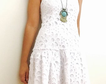 Floral Lace Dress / white layred skirt mini Dress / Boho Romantic Mini Dress / Small / Made in Brazil