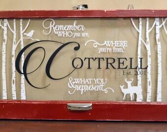 Custom Antique Window-Last name with quote