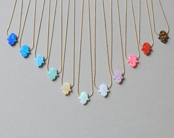 Hamsa necklace. Opal Hamsa necklace. Fire opal. Lab opal Gold filled. Hamsa Pendant. Evil Eye. Нand of fatima. valentine day. valentine gift