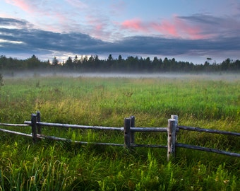 Campaign Photography, Quebec landscape, fields with fence, sky and clouds