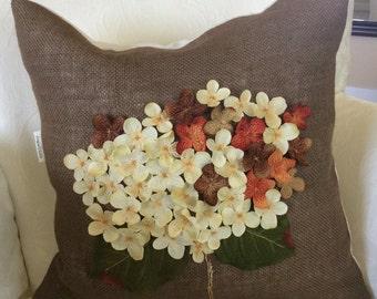 Burlap Fall Pillow Cover, Fall Bouquet, Hydrangea Pillow,Thanksgiving Pillow, Fall Accent pillow,Autumn Flower, Autumn decor, Fall Cushion