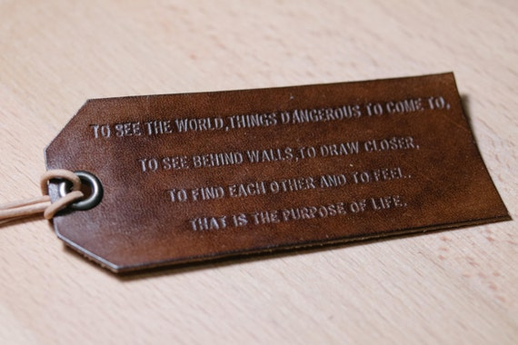 custom Luggage tag with life\u002639;s quote handmade emboss