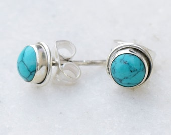 Turquoise Studs  Earrings - Post Studs - 5 mm, 5mm stud Blue Earrings - Turquoise Cabochons Studs