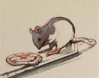 Rat having a seat with a tiny pizza original drawing