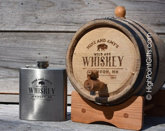 Whiskey Barrel - Personalized Whiskey Barrel - Whiskey Lovers Bundle - Personalized Flask