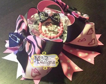 "Monster High Draculaura 5"" Stacked Boutique OTT Bow"