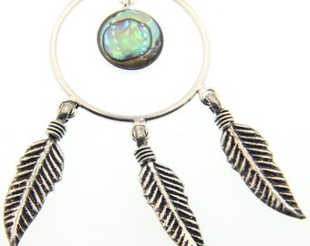 Feather Shell Sterling Silver Necklace  Free Shipping ! Free Gift Bag !