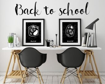 Little & Big Biologist Print Set - biology, black and white print, plant animal cell, back to school, kids poster