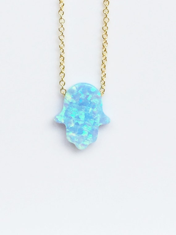 Opal hamsa necklace gold plated sterling silver chain, Safe to wet, Sky blue opal in medium or large size to choose from
