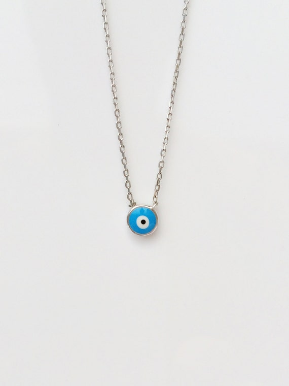 evil eye necklace silver MEGA SALE Real Sterling Silver and Cubic Zirconia, Safe to get wet.
