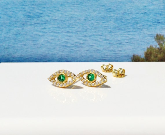 evil eye cz earrings in beautiful gold plated sterling silver and dazzling zirconia, gift for her ON SALE NOW