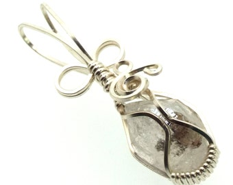 Herkimer Diamond Wire Wrapped Crystal Gem Pendant 13