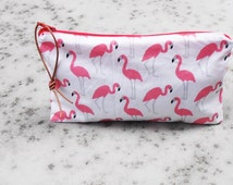 little case pink flamingo pouch, little bag, zip pouch,for her, makeup bag,organizer bag,travel bag,cosmetica pouch, little girl