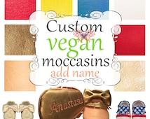 Custom Vegan Moccasins Mary Janes - Fringe - Bow - Tassel add embroidery Name / Message / DOB