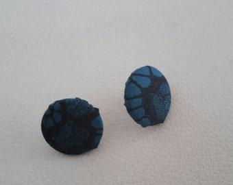 Teal fabric stud earrings