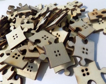 Mixed 4 Holes Wooden Buttons Puzzle Pattern - #SB-00041