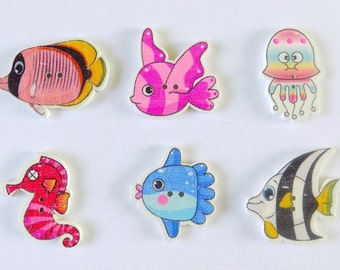 6 Sea Creature Buttons - #SB-00014