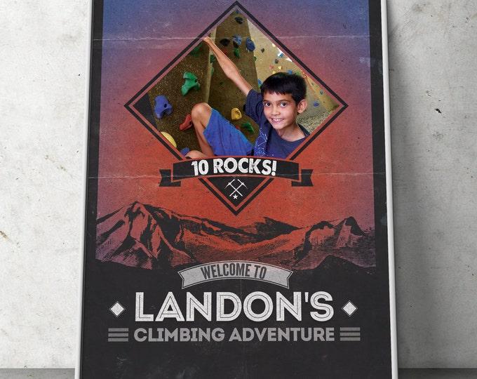 Ready to Rock, Rock Climbing Birthday Invite, 10 rocks, ten rocks, boy birthday, Adventure outdoors, hiking, 9. 10, 11, 12, 13, 14, 8, sign