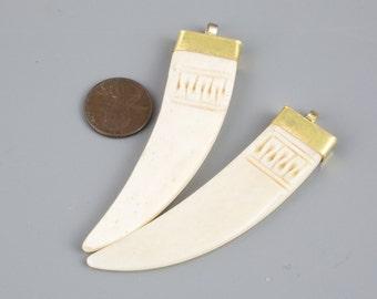 Flat BONE Pendant-- Tibetan Handcrafted Horn / 66MM Tusk Pendant with GOLD Bail