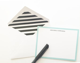 Classic Teal and Black Personalized Stationery