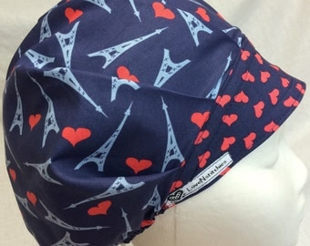 Bouffant Scrub Hats Surgical Scrub Caps for Women Paris Love Navy Blue Red Hearts