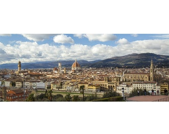 Florence panoramic photography, Piazzale Michelangelo, Florence skyline, panoramic view of Florence, Firenze, Tuscany, photography of Italy.