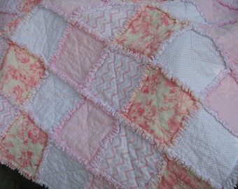 Rag Quilt, Pink Shabby Chic, Lap Quilt, Handmade in the USA,  Ready to Ship