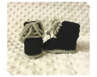 Newborn Baby Crocheted Black & Grey Combat Boots 8cm Sole