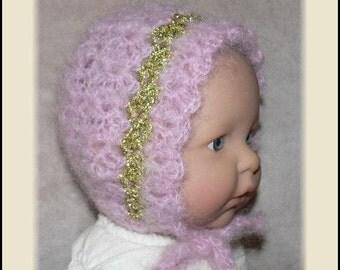 Newborn Baby Crocheted Pink Mohair Bonnet with Metallic Gold Thread
