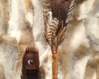 Ceremonial Feather Smudge Fan with Cowhide & Crystal Quartz