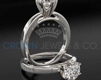 Diamond Engagement Ring 0.8 Carat Round Brilliant Cut F SI Women Solitaire Ring 14 Karat White Gold