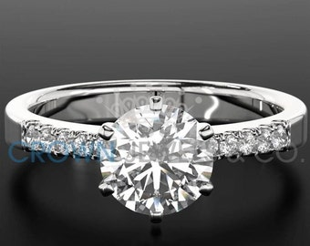 Women Round Cut Diamond Ring 14 Karat White Gold Setting Certified F VS2 1.3 Carat Diamond Engagement Ring For Her