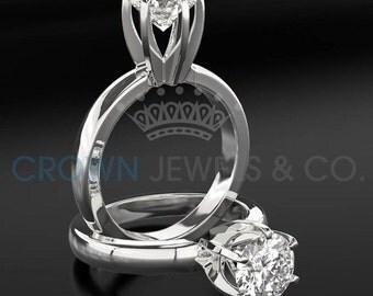 Diamond Ring Women Round Cut Engagement Ring 1.8 Carat G VS Certified Diamond 14K White Gold Ring