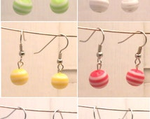 Handmade color striped boll earrings in yellow, red, white, green, purple, pink (all my jewelry is nickel free!)