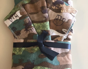 Camo with Animals, Oversize Recieving Blanket and Burp Cloth