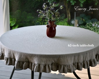 Round Linen Tablecloth,Ruffled, Natural Undyed Linen, Custom Tablecloth, Wedding, Event, Holidays, Washable, Organic Flax Linen, Made in USA