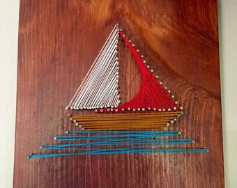 String Wall Art, sail boat, nautical wall art