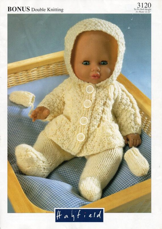 Free Knitting Patterns For Dolls Prams : baby dolls clothes knitting pattern PDF doll pram set hooded