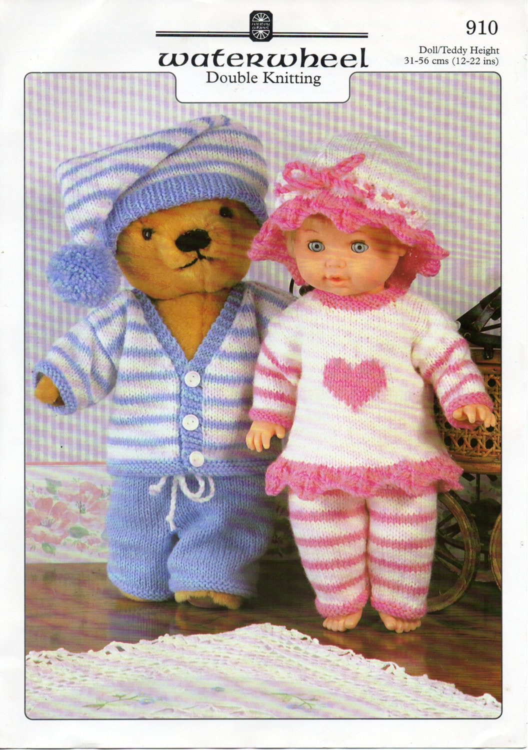 Baby Doll Clothes Knitting Patterns : baby dolls clothes knitting pattern dolls pyjamas teddy bear